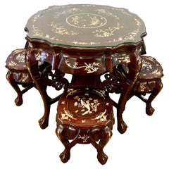 Chinese Carved Rosewood and Mother-of-Pearl Set, Tea Table and Four Stools