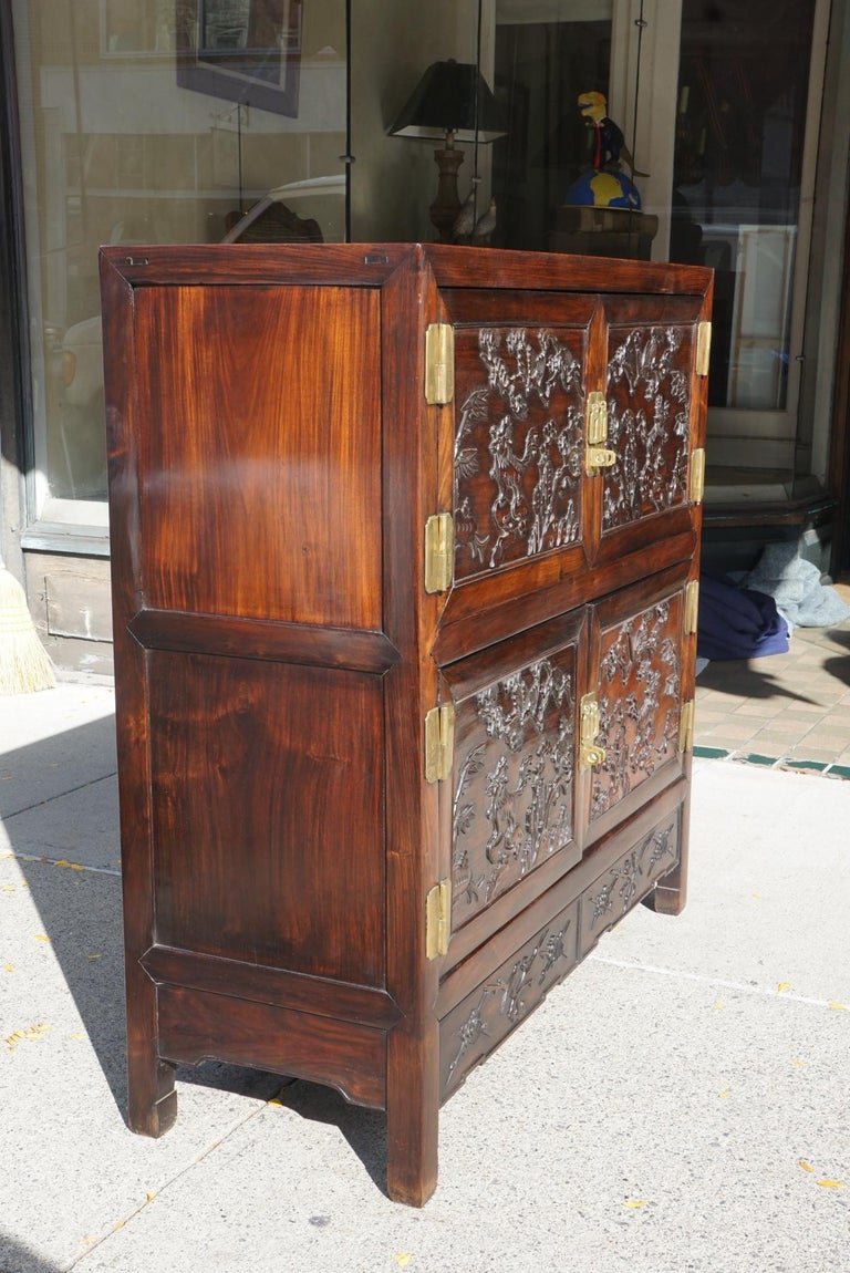 Ming Chinese Carved Rosewood Cabinet For Sale