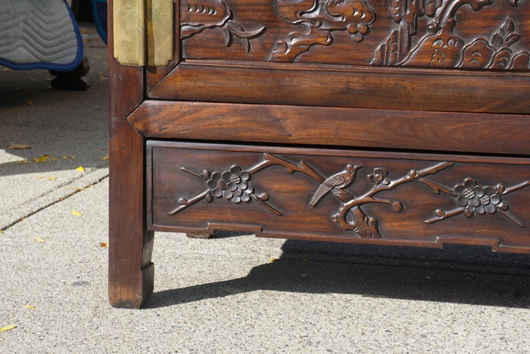 Brass Chinese Carved Rosewood Cabinet For Sale