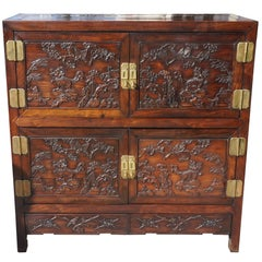 Chinese Carved Rosewood Cabinet
