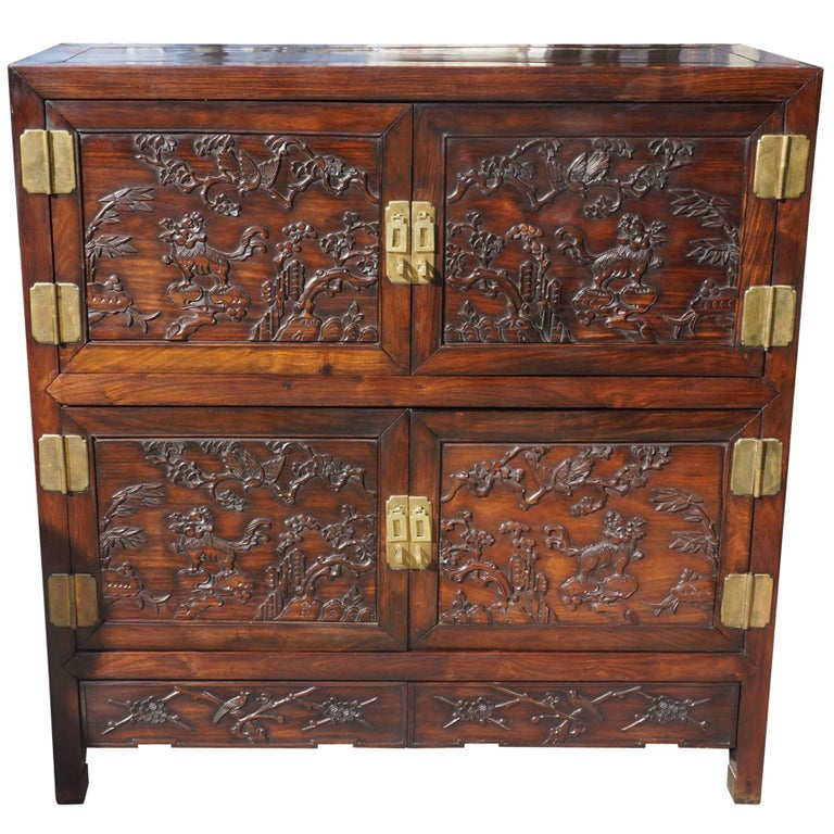 Chinese Carved Rosewood Cabinet For Sale