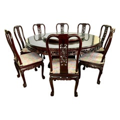 Chinese Carved Rosewood Dining Set, Round Pedestal Table & Eight Matching Chairs
