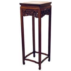 Chinese Carved Rosewood Stand Pedestal