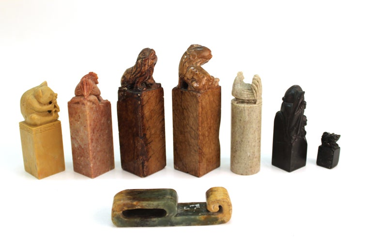 Chinese Carved Soap Stone Figurines In Good Condition For Sale In New York, NY