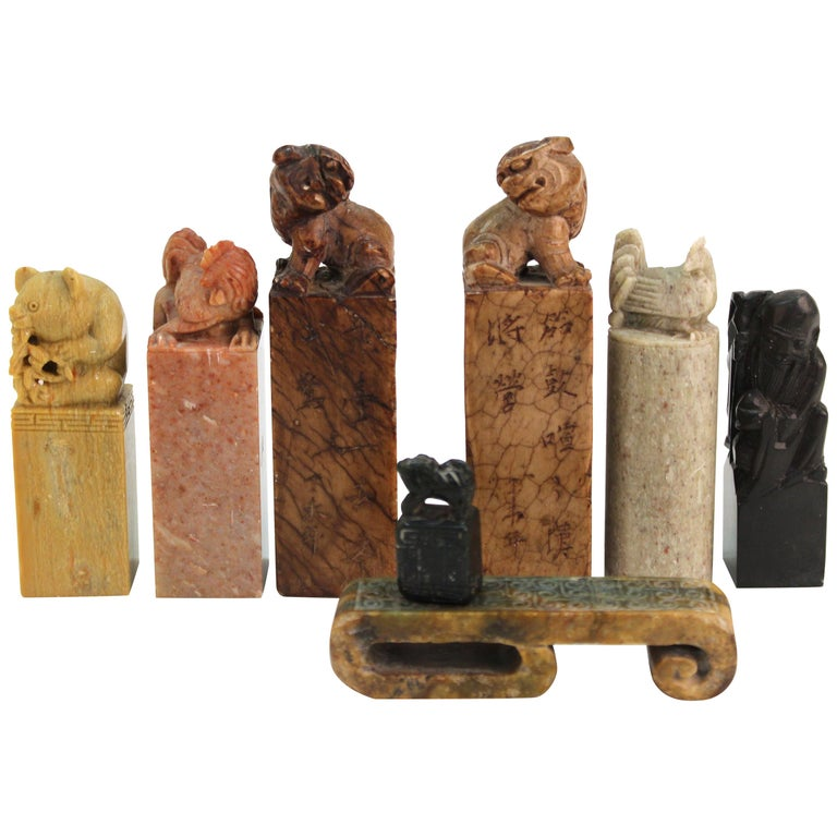Chinese Carved Soap Stone Figurines For Sale