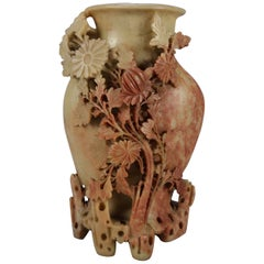 Chinese Carved Soapstone Floral Decorated Sculptural Vase, 20th Century