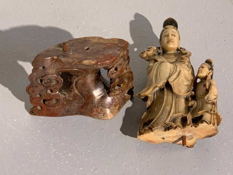 Chinese Carved Soapstone Immortal and Attendant, Qing Dynasty, 19th Century For Sale 9