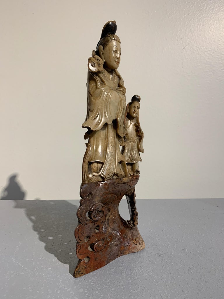 Chinese Carved Soapstone Immortal and Attendant, Qing Dynasty, 19th Century For Sale 1