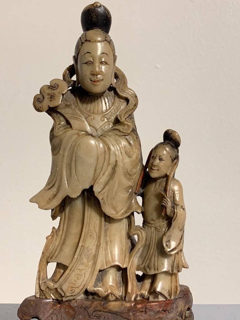 Chinese Carved Soapstone Immortal and Attendant, Qing Dynasty, 19th Century For Sale 2