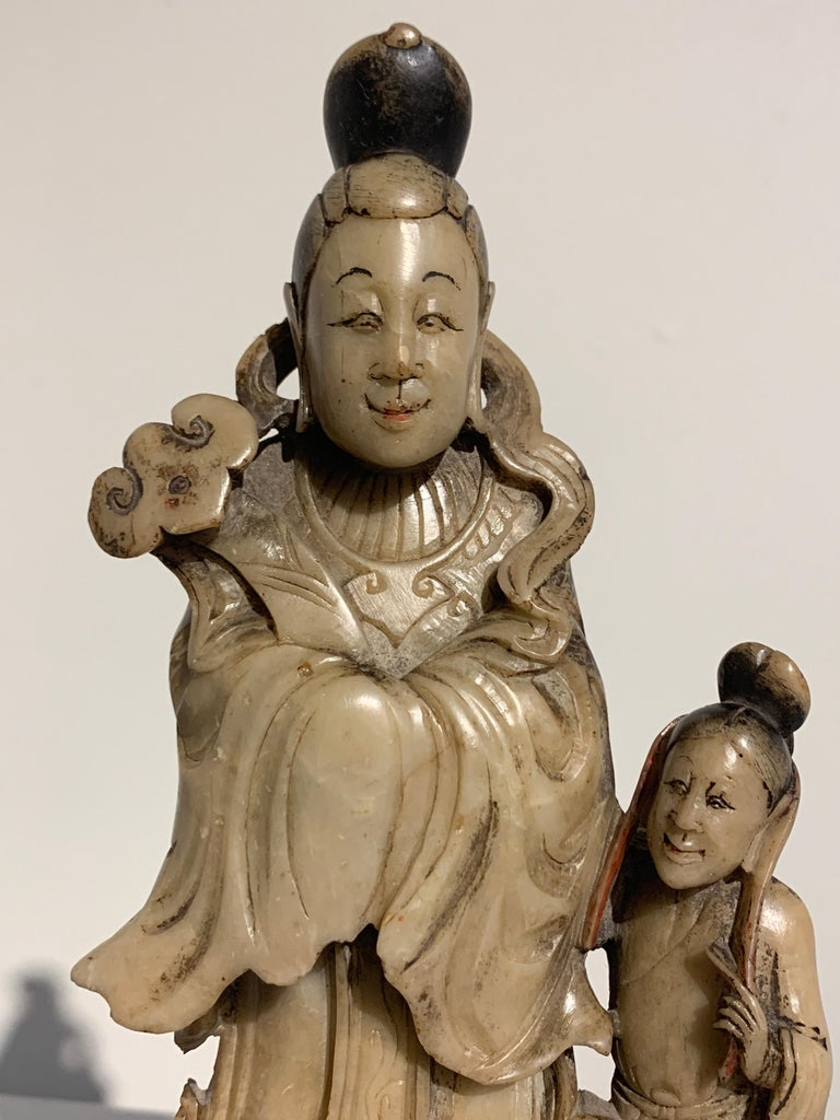 Chinese Carved Soapstone Immortal and Attendant, Qing Dynasty, 19th Century For Sale 3