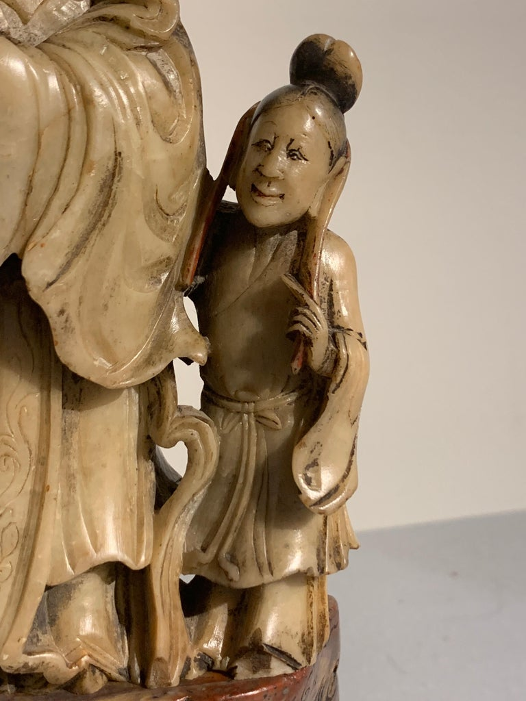 Chinese Carved Soapstone Immortal and Attendant, Qing Dynasty, 19th Century For Sale 5