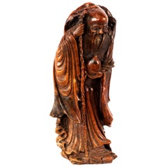 Chinese Carved Soapstone Shou Deity, Qing Dynasty