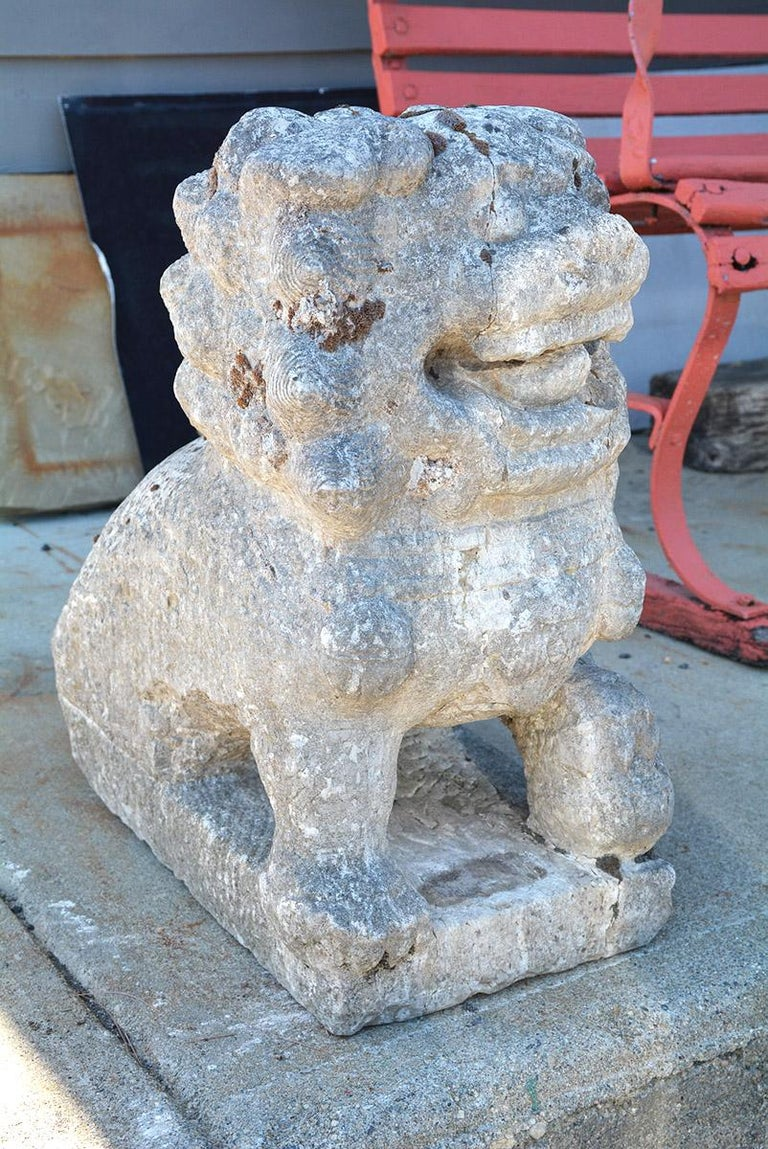 Chinese Carved Stone Garden Guardian Lion In Good Condition For Sale In Great Barrington, MA