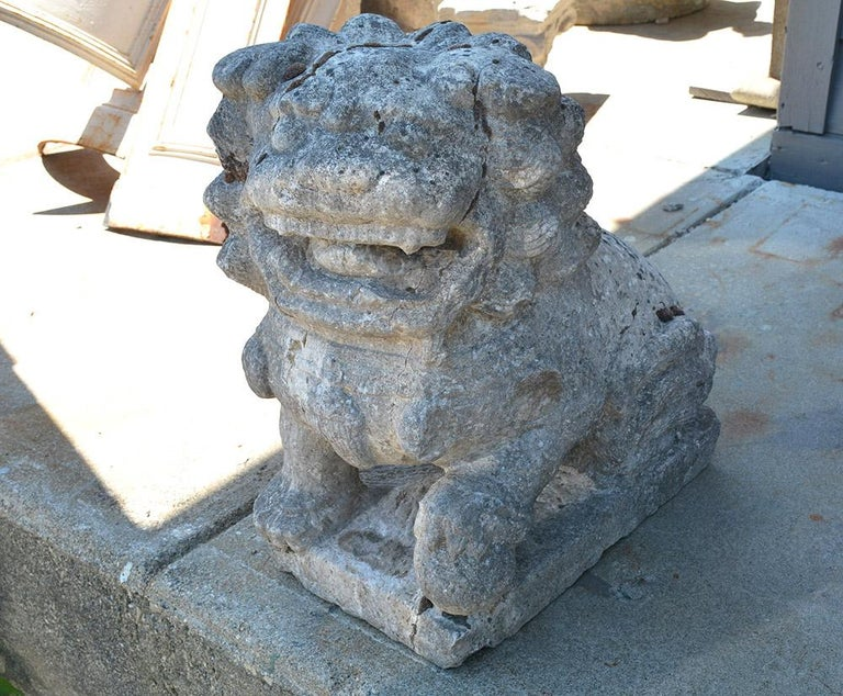 The features of this stone Foo lion has been softened by being exposed to the elements for many centuries. Still a very handsome sculptural specimen made from carved stone, it is known as Foo Dogs or Fu Dogs in western culture. The lion serves as