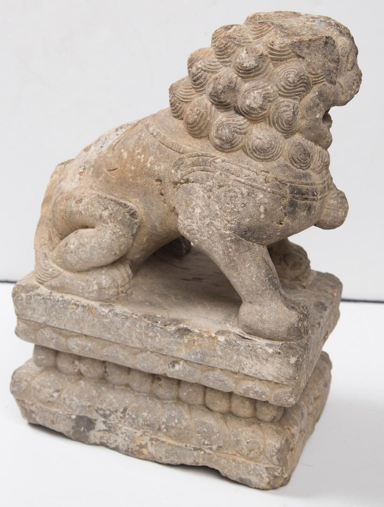 18th Century and Earlier Chinese Carved Stone Temple Lion For Sale