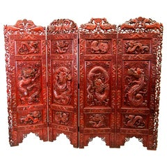 Chinese Carved Teakwood Red Lacquered Four Panel Screen