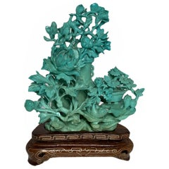 Chinese Carved Turquoise Vase and Flowers Table Decor