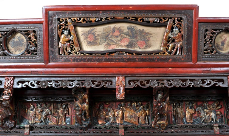 Chinese Carved Wedding Bed, Qing Dynasty, circa 1880 For Sale 5