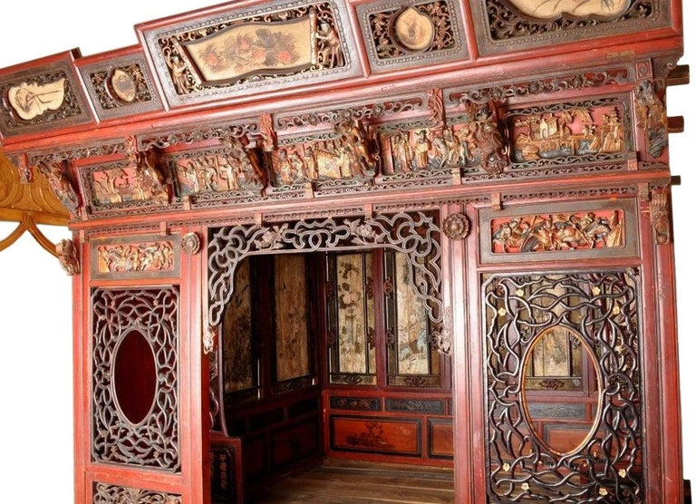 Chinese Carved Wedding Bed, Qing Dynasty, circa 1880 In Good Condition For Sale In Portland, OR