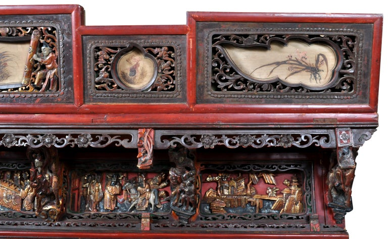 Chinese Carved Wedding Bed, Qing Dynasty, circa 1880 For Sale 4