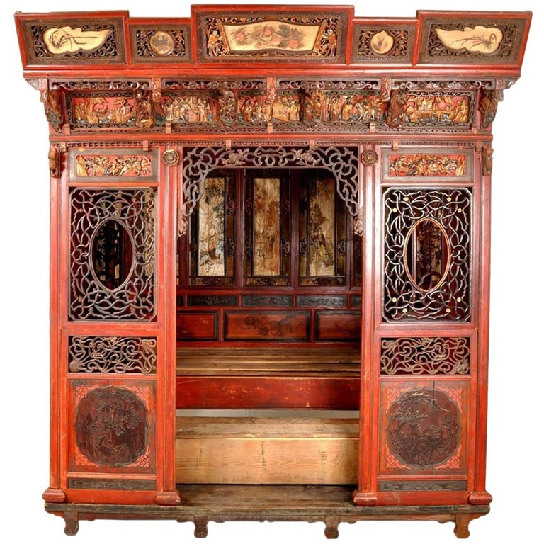 Chinese Carved Wedding Bed, Qing Dynasty, circa 1880 For Sale