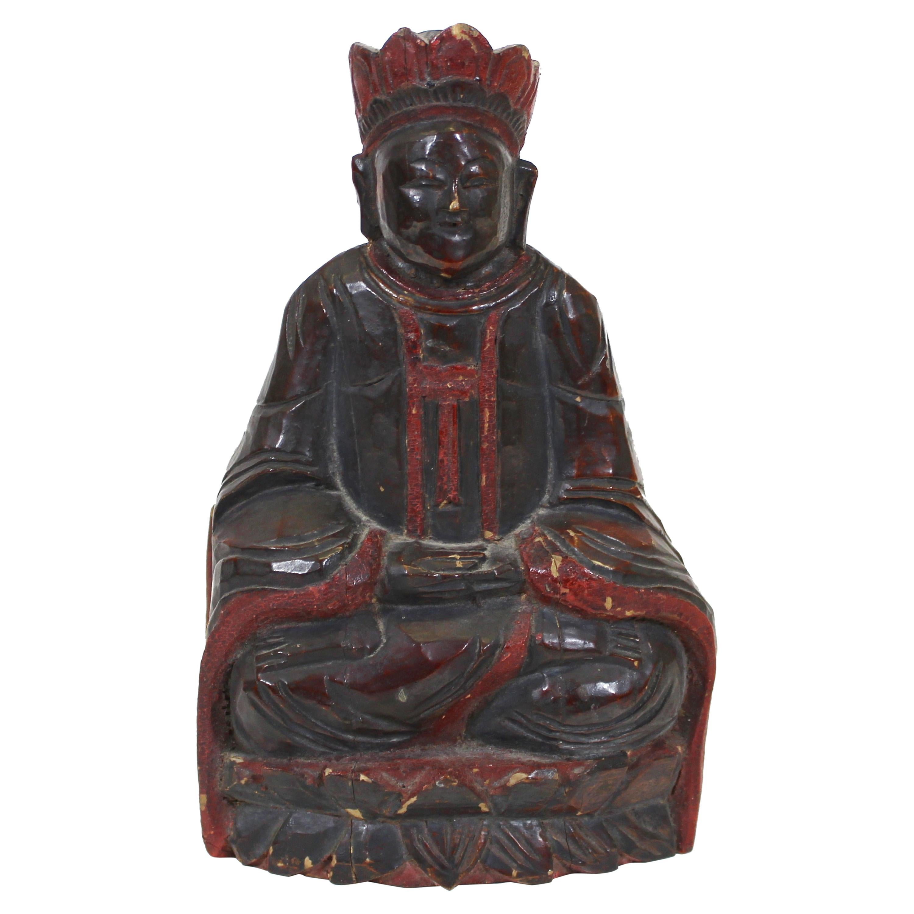 Chinese Carved Wood Reliquary Seated Dignitary Figure