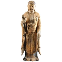Chinese Carved Wood Teaching Buddha in Ming Style