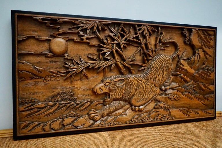 Chinese Carved Wood Wall Art from a Hunting Tiger For Sale 5