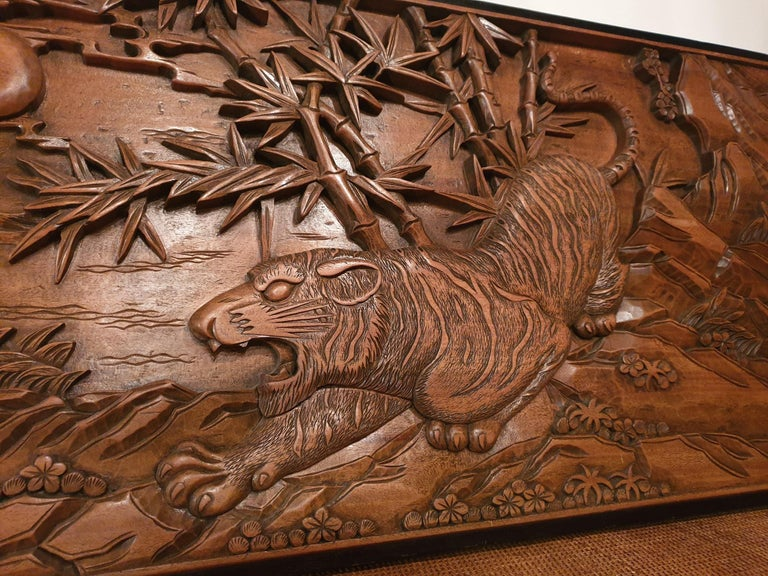 Chinese Carved Wood Wall Art from a Hunting Tiger For Sale 6