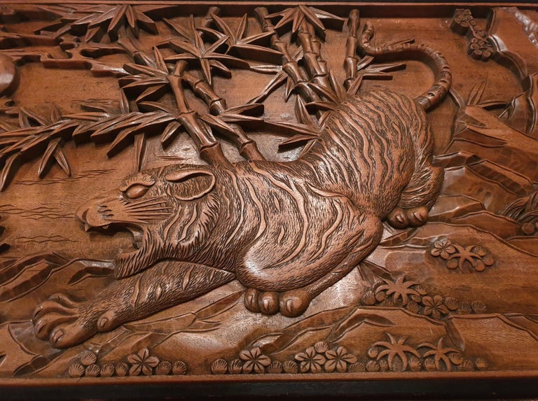 Chinese Carved Wood Wall Art from a Hunting Tiger For Sale 10