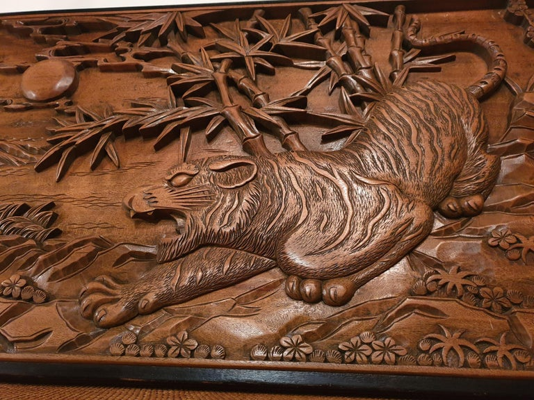 Chinese Carved Wood Wall Art from a Hunting Tiger For Sale 11