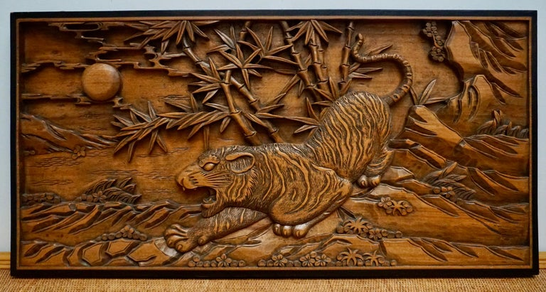 Chinese Export Chinese Carved Wood Wall Art from a Hunting Tiger For Sale