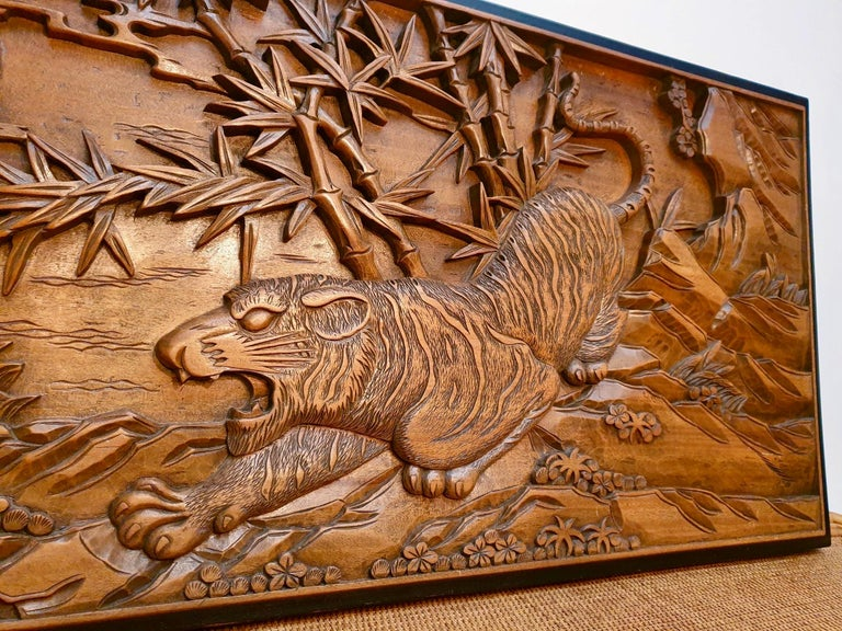Hand-Carved Chinese Carved Wood Wall Art from a Hunting Tiger For Sale