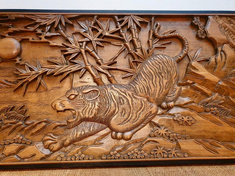 20th Century Chinese Carved Wood Wall Art from a Hunting Tiger For Sale