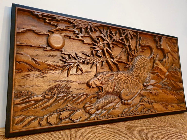 Chinese Carved Wood Wall Art from a Hunting Tiger For Sale 1