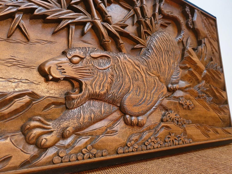 Chinese Carved Wood Wall Art from a Hunting Tiger For Sale 2
