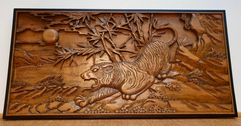 Chinese Carved Wood Wall Art from a Hunting Tiger For Sale 3