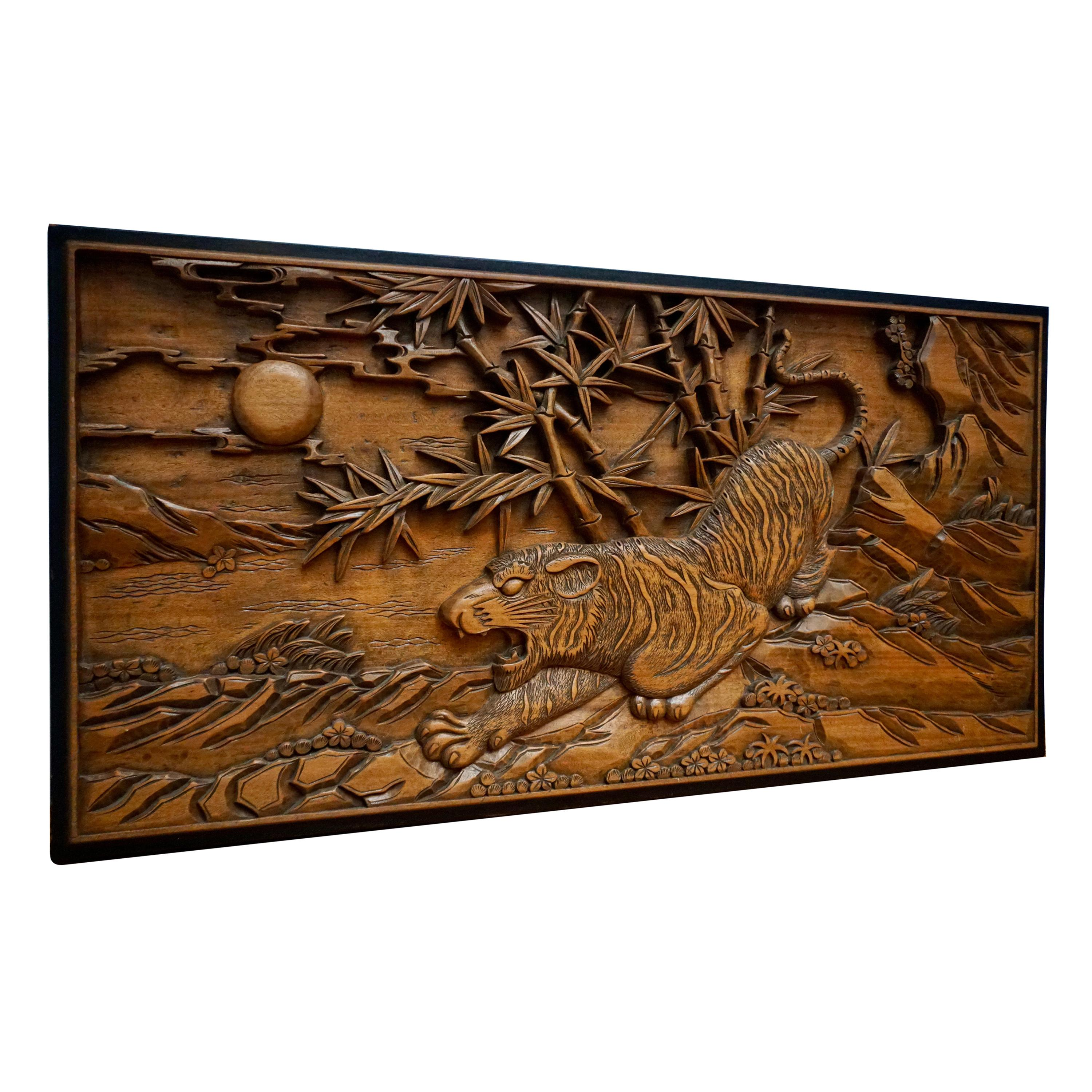 Chinese Carved Wood Wall Art from a Hunting Tiger
