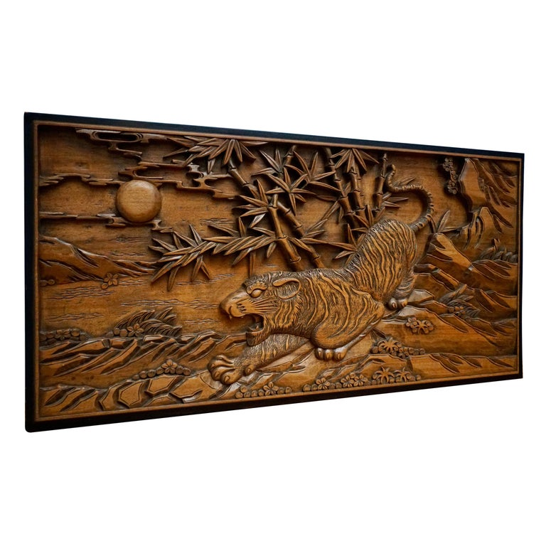 Chinese Carved Wood Wall Art from a Hunting Tiger For Sale