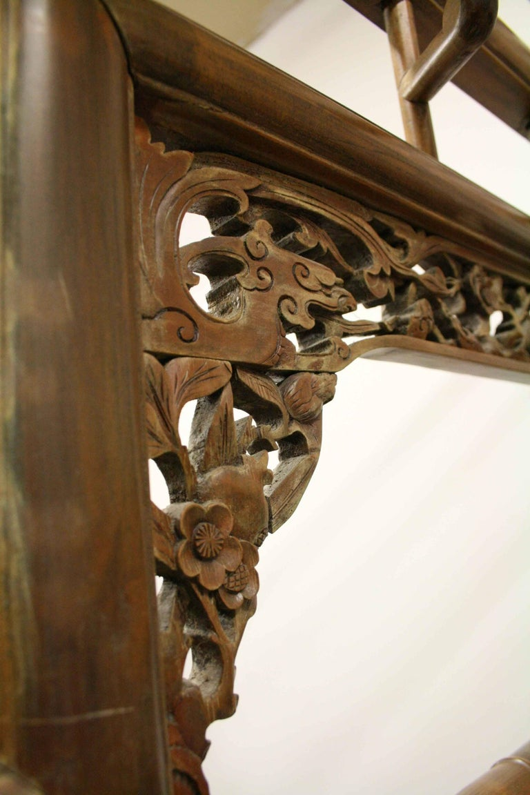 Chinese Carved Wooden Marriage Bed Circa 1920s For Sale