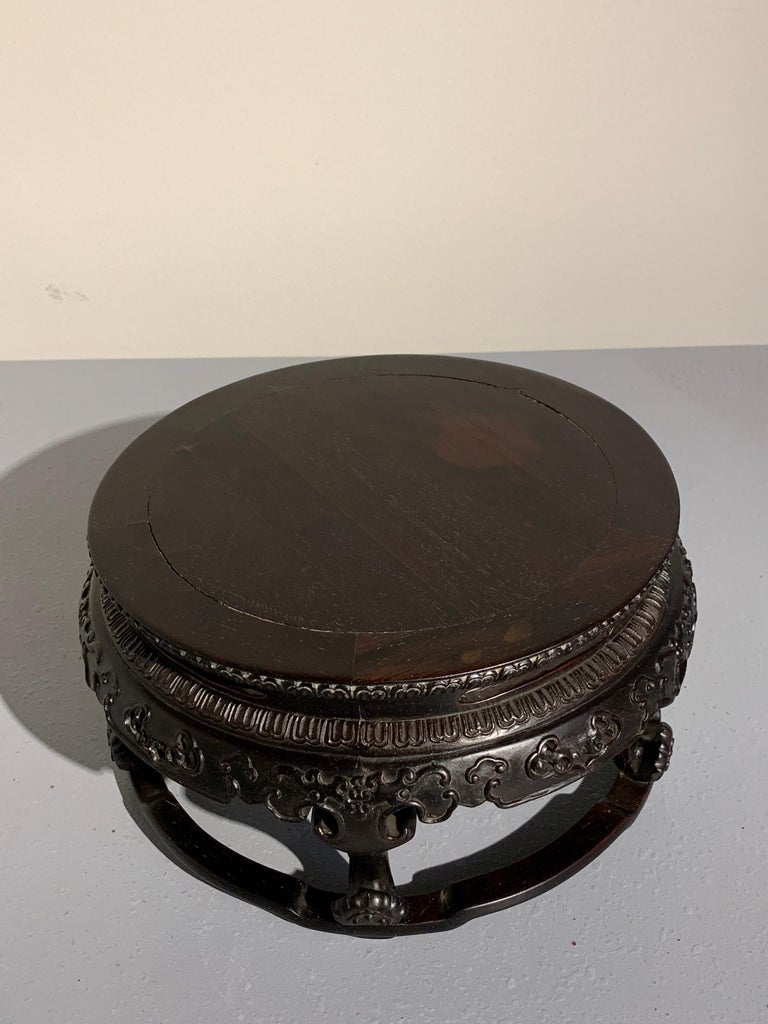 Chinese Carved Zitan Table-Form Stand, Republic Period, Mid-20th Century In Good Condition For Sale In Austin, TX
