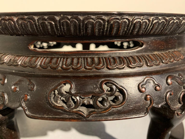 Chinese Carved Zitan Table-Form Stand, Republic Period, Mid-20th Century For Sale 3