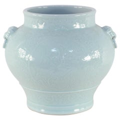 Chinese Celadon and Tonal Pattern Porcelain Pot