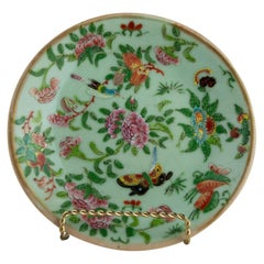 Chinese Celadon Famille Rose Plate, Canton, circa 1820