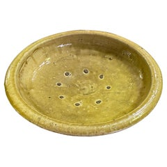 Chinese Celadon Large Heavy Yellow Glazed Footed Bowl, Qing Dynasty