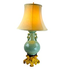Chinese Celadon Vase Lamp with a French 19 Century Gilt Bronze Base