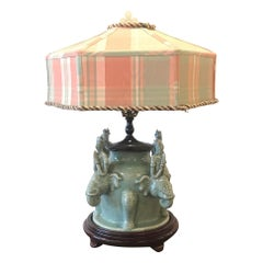 Chinese Celedon Porcelain Lamp with Custom Shade