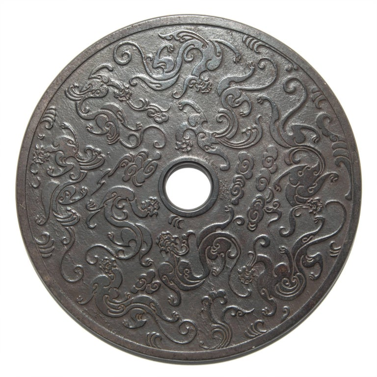 Hand-Carved Chinese Celestial Dragon Bi Disc For Sale