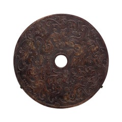 Chinese Celestial Dragon Bi Disc on Wall Mount