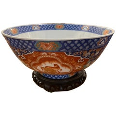 Chinese Center or Punch Bowl on Wood Stand Made by Maitland Smith, 20th Century